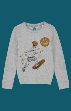 ROULE-CANAILLE--SWEAT-GRIS-SKATEUR-ORANGE