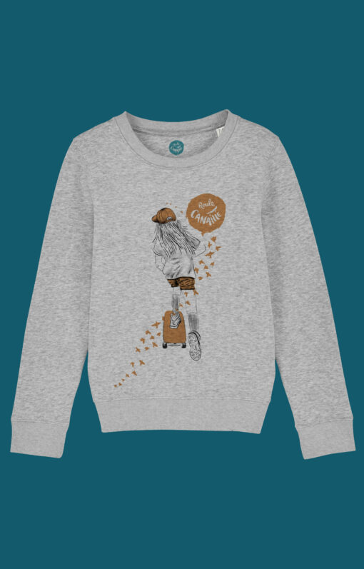 ROULE-CANAILLE-SWEAT-GRIS-SKATEUSE-ORANGE